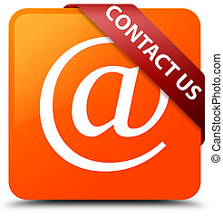Contact us (email address icon) orange square button red ribbon in corner