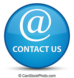Contact us (email address icon) special cyan blue round button