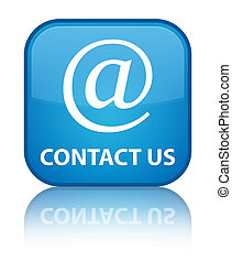 Contact us (email address icon) special cyan blue square button