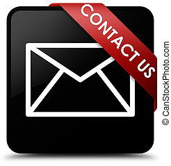 Contact us (email icon) black square button red ribbon in corner