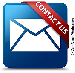 Contact us (email icon) blue square button red ribbon in corner