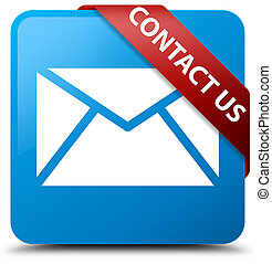 Contact us (email icon) cyan blue square button red ribbon in corner