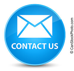 Contact us (email icon) elegant cyan blue round button