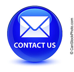 Contact us (email icon) glassy blue round button