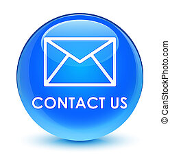 Contact us (email icon) glassy cyan blue round button