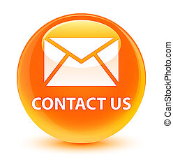 Contact us (email icon) glassy orange round button
