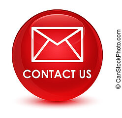 Contact us (email icon) glassy red round button