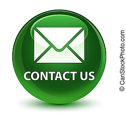 Contact us (email icon) glassy soft green round button