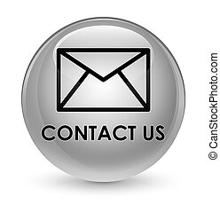 Contact us (email icon) glassy white round button