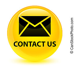 Contact us (email icon) glassy yellow round button