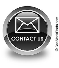 Contact us (email icon) glossy black round button
