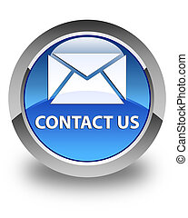 Contact us (email icon) glossy blue round button
