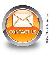 Contact us (email icon) glossy orange round button