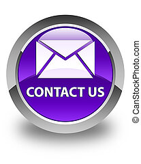 Contact us (email icon) glossy purple round button