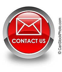 Contact us (email icon) glossy red round button