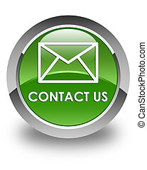 Contact us (email icon) glossy soft green round button