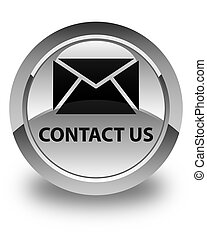 Contact us (email icon) glossy white round button