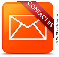 Contact us (email icon) orange square button red ribbon in corner