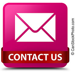 Contact us (email icon) pink square button red ribbon in middle