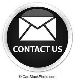 Contact us (email icon) premium black round button