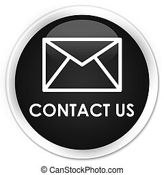 Contact us (email icon) premium black round button