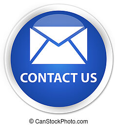 Contact us (email icon) premium blue round button