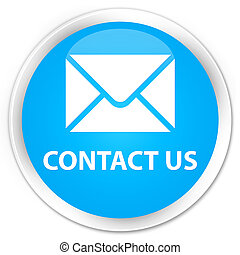 Contact us (email icon) premium cyan blue round button