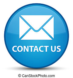 Contact us (email icon) special cyan blue round button