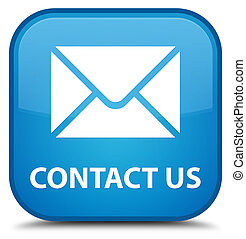Contact us (email icon) special cyan blue square button