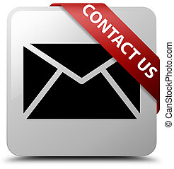 Contact us (email icon) white square button red ribbon in corner
