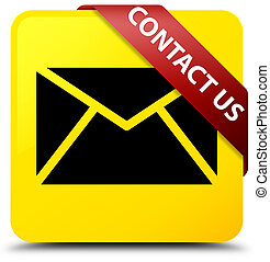 Contact us (email icon) yellow square button red ribbon in corner