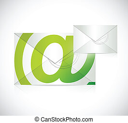 contact us envelope illustration design over a white...