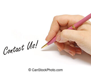 Contact Us - Female writing contact us on a board