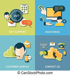 Contact us flat icons composition - Contact us global...