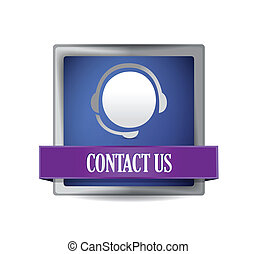 Contact us glossy blue button