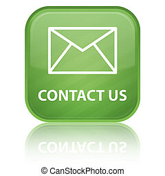 Contact Us glossy button - contact us icon on glossy green...