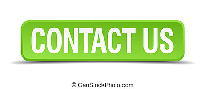 Contact us green 3d realistic square isolated button