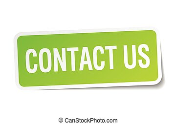 contact us green square sticker on white background