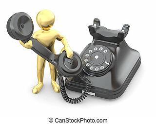contact, us., hommes, à, téléphone., 3d