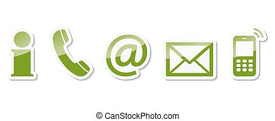 contact us icon set - Contact Us – set of green colored...
