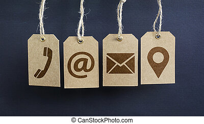 Contact Us Icons On Paper Tags