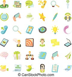 Contact us icons set, cartoon style