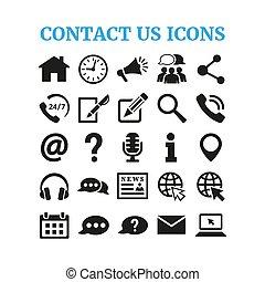 Contact us icons set on white background.
