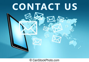 Contact us illustration with tablet computer on blue...