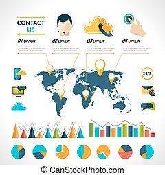 Contact us infographics set