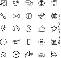 Contact us line icons on white background