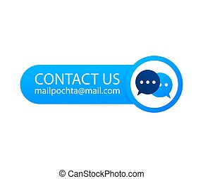 Contact Us Mail Label on backgraund. Vector stock illustration.
