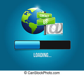 contact us mail loading bar sign illustration