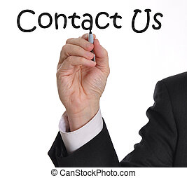 Male executive writing contact us on a whiteboard