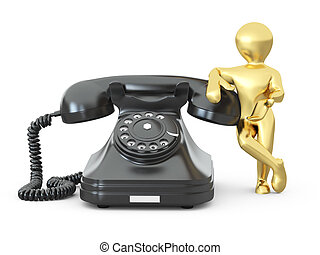 contact, us., mannen, met, telefoon., 3d